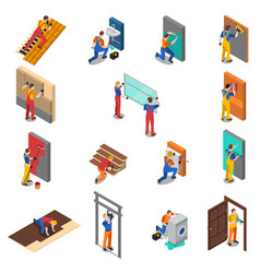 home repair worker people icon set vector image vector image