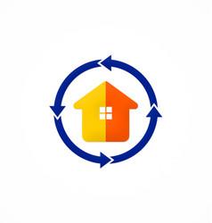 House realty protection arrow logo vector