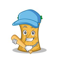 playing baseball kebab wrap character cartoon vector image vector image