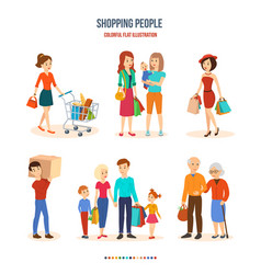 shopping people joint purchases family walks vector image vector image