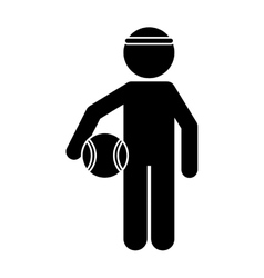 silhouette player basketball with headband vector image