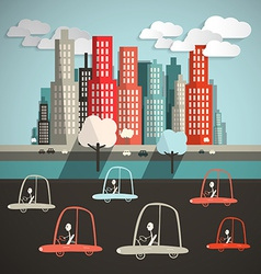 Cars in City Flat Design Retro vector image vector image