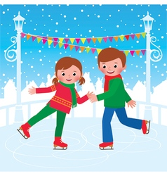 Children are skating on the ice rink vector image vector image