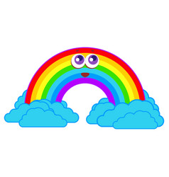 rainbow smiles in the clouds vector image