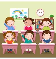 School kids studying in classroom vector image vector image