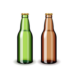 two empty glass beer bottles isolated on white vector image