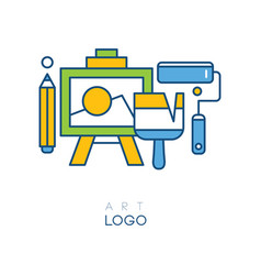 Abstract logo in line style with easel for drawing vector