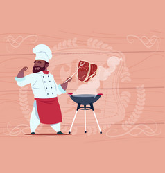 african american chef cook grill meat on bbq vector image