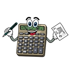 Cartoon calculator with pen and note vector image
