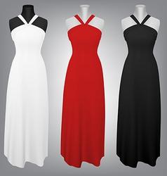 Classic female plain dress template vector