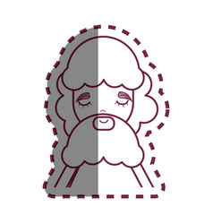 contour man with beard and casual cloth icon vector image vector image
