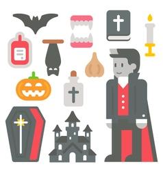 Flat design vampire item set vector image vector image