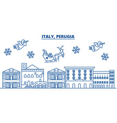 italy perugia winter city skyline merry vector image vector image