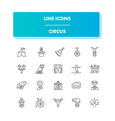 line icons set circus vector image