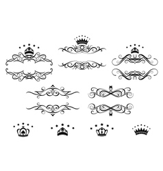 Retro frames set with royal crowns vector image