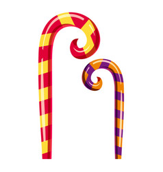 Striped candy canes icon cartoon style vector