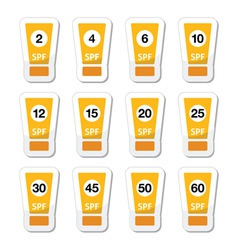 Sun cream sunblock with factor or spv icons set vector image