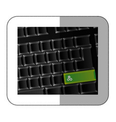 back computer keyboard with gear symbol icon vector image