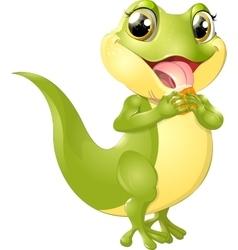 beautiful green lizard vector image vector image