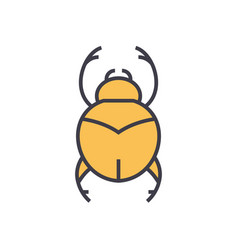 bugs simple egypt flat line concept vector image
