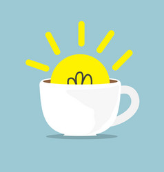 bulb idea in white coffee cup vector image