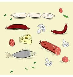 set of hand drawn food vector image