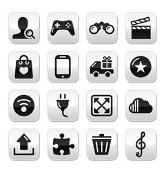 Web internet grey buttons set - vector image vector image