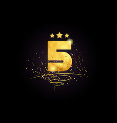 5 number icon design with golden star and glitter vector image