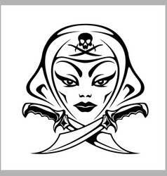 Amazon girl warrior pirate vector