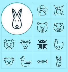Animal icons set collection of piglet beetle vector