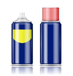 Blue spray can with red cap vector