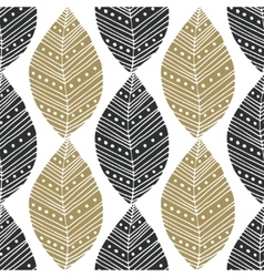 Bohemian seamless pattern with black and gold vector image vector image