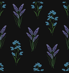 Botanical seamless pattern with embroidered vector