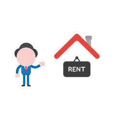 Businessman character with house and rent written vector