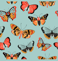 Butterfly moth colorful seamless pattern vector