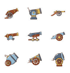 Cannon weapon icons set flat style vector