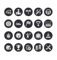 car racing flat glyph icons speed auto vector image