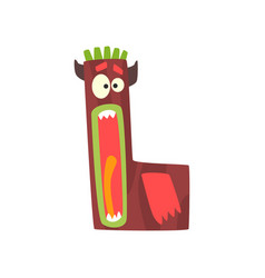 Cartoon character monster letter l vector