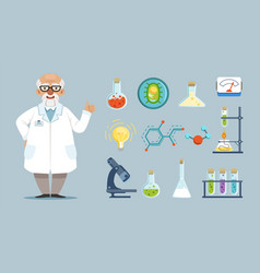 Cartoon scientist elements chemical laboratory vector