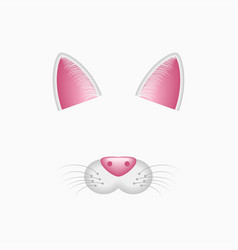 cat ears and nose selfie photo and video filter vector image