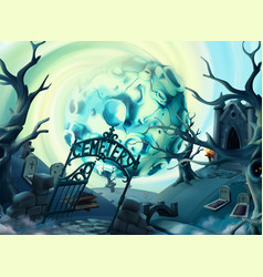 cemetery halloween background cartoon landscape vector image