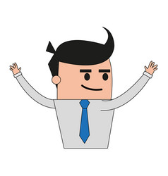 Color image half body cartoon business guy with vector