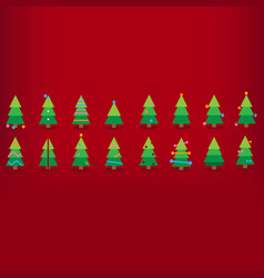 colorful christmas trees with decorations red vector image