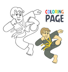 coloring page with karate martial art player vector image