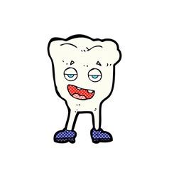 Comic cartoon tooth looking smug vector