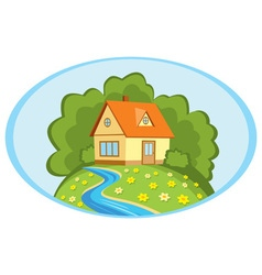 Country house on a background summer landscape vector image