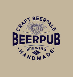 craft beer brewing company logo pub emblem vector image