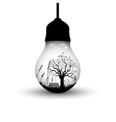 Creative design with hanging light bulb vector