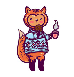 Cute animal a little fox with a cup of tea and a vector