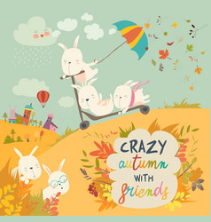 Cute crazy rabbits playing in autumn fall season vector